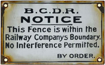 click for 12K .jpg image of BCDR enamel fence sign