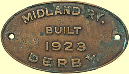 click for 15K .jpg image of Midland (NCC) loco worksplate